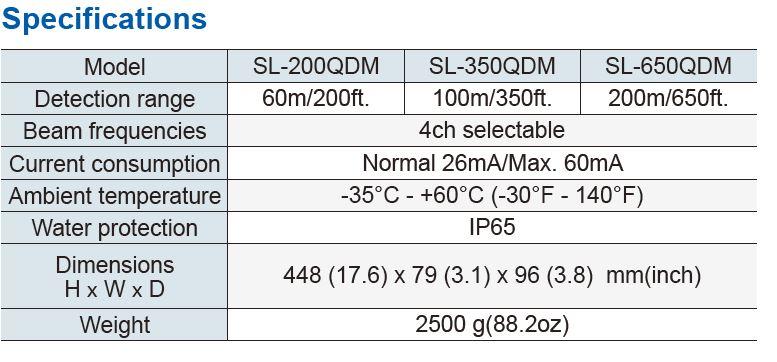 Optex Sl 350Qdm Specifications